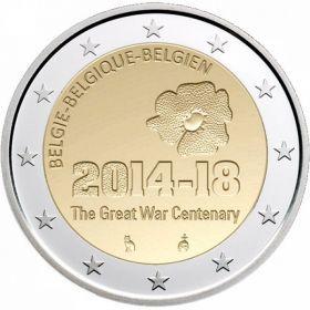 """2 евро Бельгия  2014 г. """"100 лет с начала Первой мировой войны"""" 00236"""