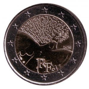 2 евро Франция. 2015 г. 70 лет мира в Европе. 00306