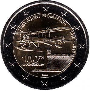 2 евро Мальта. 2015 г. 100 лет первому авиаполёту с Мальты. 00322