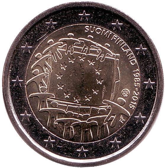 2 евро Финляндия. 2015 г. 30 лет Флагу Европы. 00339