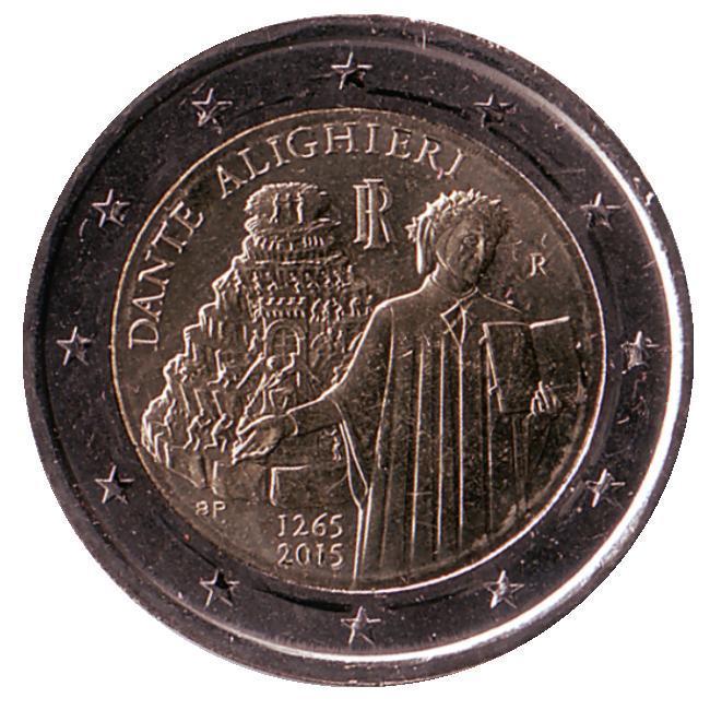 2 евро Италия. 2015 г. 750 лет со дня рождения Данте Алигьери. 00340