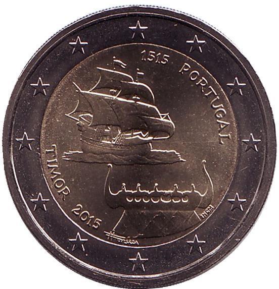 2 евро Португалия. 2015 г. 500-летие открытия Португальского Тимора. 00342
