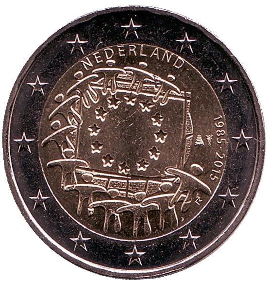 2 евро Нидерланды. 2015 г. 30 лет Флагу Европы. 00355
