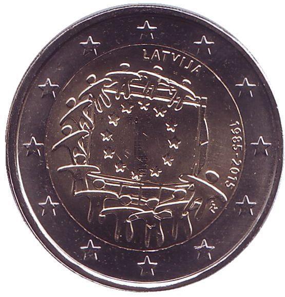 2 евро Латвия. 2015 г. 30 лет Флагу Европы.