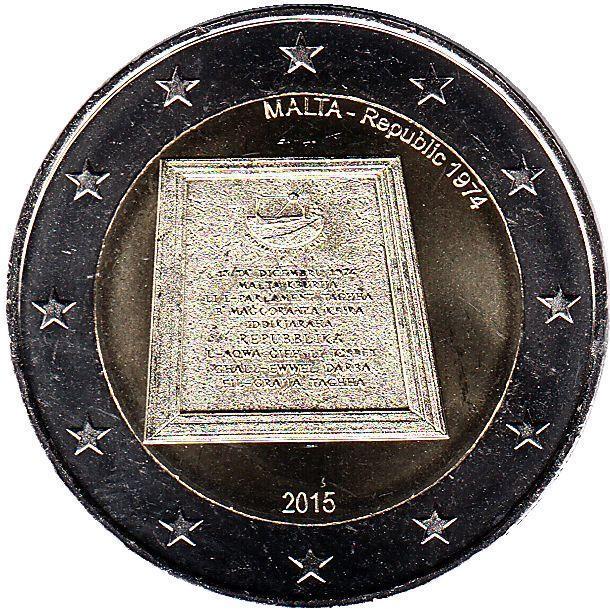 2 евро Мальта. 2015 г. Провозглашение республики. 00361