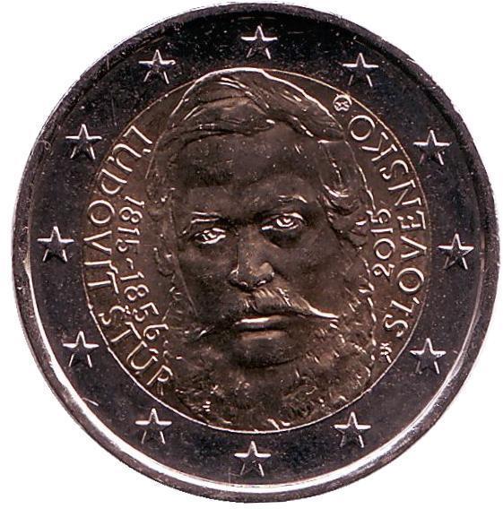 2 евро Словакия. 2015 г. 200 лет со дня рождения общественного деятеля Людовита Штура. 00362
