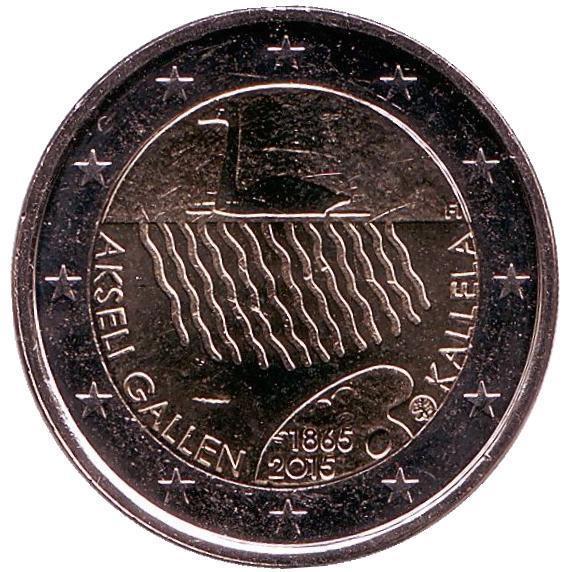 2 евро Финляндия. 2015 г. 150 лет со дня рождения Аксели Галлен-Каллела. 00363