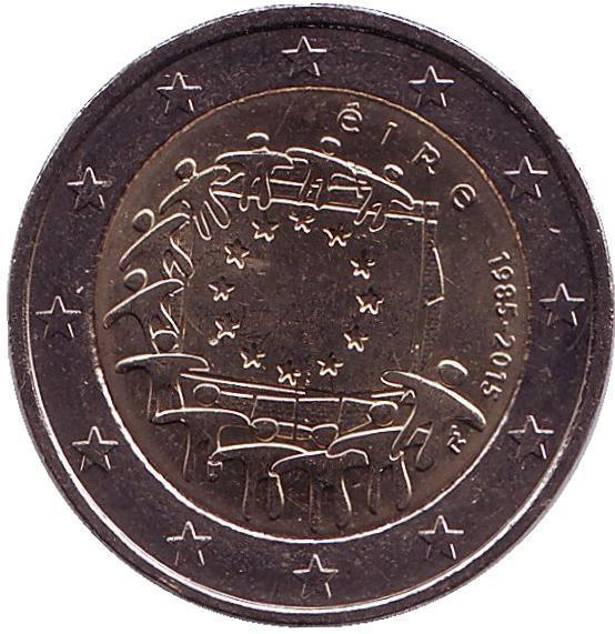 2 евро Ирландия. 2015 г. 30 лет Флагу Европы. 00370