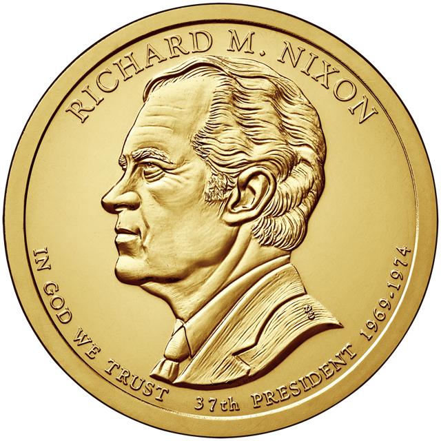 США 1 доллар, 2016 год. 37-й президент США. Ричард Никсон. Монетный двор D. 00398
