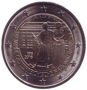 2 евро Австрия. 2016 г. 200-летие Австрийского национального банка. 00401