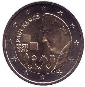 2 евро Эстония. 2016 г. 100 лет со дня рождения Пауля Кереса. 00402