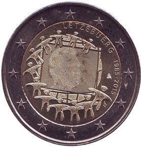 2 евро Люксембург. 2015 г. 30 лет Флагу Европы.