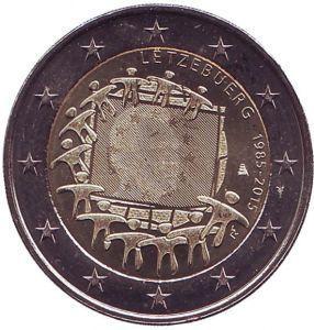2 евро Люксембург. 2015 г. 30 лет Флагу Европы. 00412