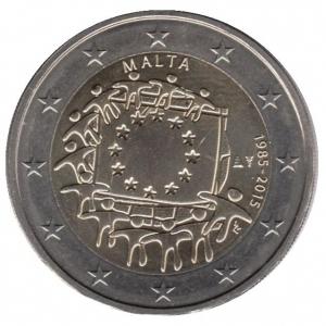 2 евро Мальта. 2015 г. 30 лет Флагу Европы. 00415