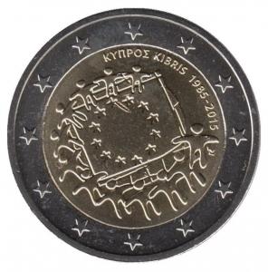 2 евро Кипр. 2015 г. 30 лет Флагу Европы. 00418