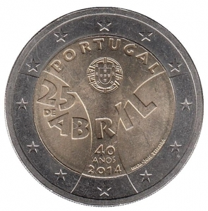 """2 евро Португалия 2014 г. """"40 лет Революции гвоздик"""" 00235"""
