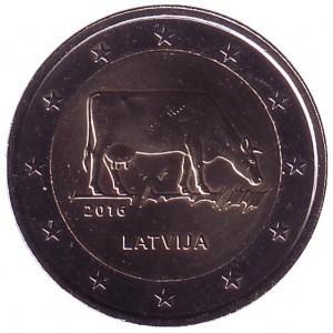 2 евро Латвия. 2016 г. Корова. 00454