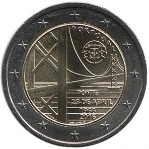 2 евро Португалия. 2016 г. Мост имени 25 апреля. 00455