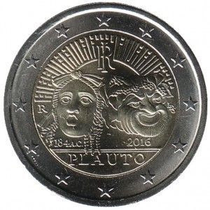 2 евро Италия. 2016 г. Плавт. 00456