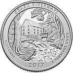 США 25 центов, 2017г. 38-й Национальные водные пути Озарк 00526