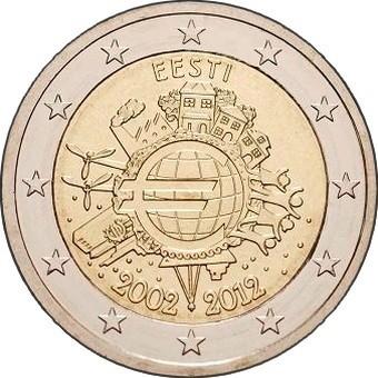 2 евро Эстония 2012г. Серия «10 лет наличному обращению евро»