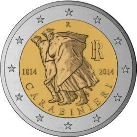 2 евро Италия 2014 г. 200 лет итальянским карабинерам