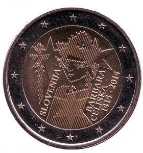 2 евро Словения 2014 г. 600 лет коронации Барбары Цилли