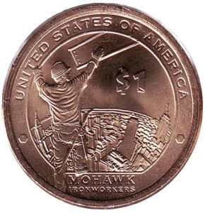 США 1 доллар, 2015 год. Сакагавея Индеец из племени Моговак на строительстве небоскреба в Нью-Йорке