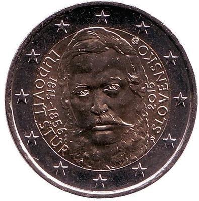 2 евро Словакия. 2015 г. 200 лет со дня рождения общественного деятеля Людовита Штура.