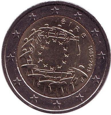 2 евро Ирландия. 2015 г. 30 лет Флагу Европы.