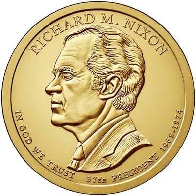 США 1 доллар, 2016 год. 37-й президент США. Ричард Никсон. Монетный двор D.