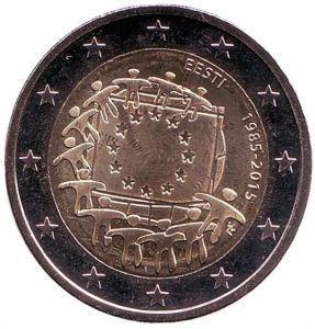 2 евро Эстония. 2015 г. 30 лет Флагу Европы.