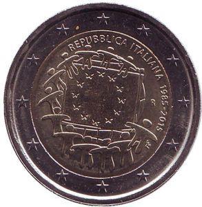 2 евро Италия. 2015 г. 30 лет Флагу Европы.