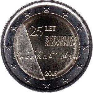 2 евро Словения. 2016 г. 25-летие независимости Словении.