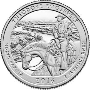США 25 центов, 2016г. 34-й Национальный парк Теодора Рузвельта.