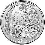 США 25 центов, 2017г. 38-й Национальные водные пути Озарк