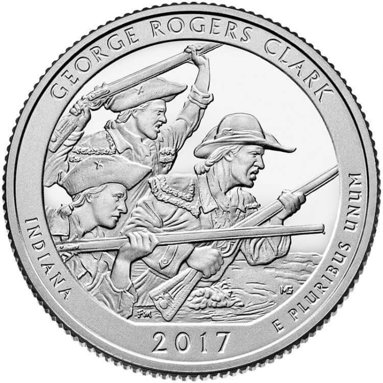 США 25 центов, 2017г. 40-й Национальный парк Джордж Роджерс Кларк 00540