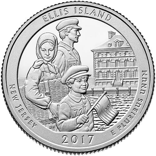 США 25 центов, 2017г. 39-й Национальный монумент острова Эллис 00541