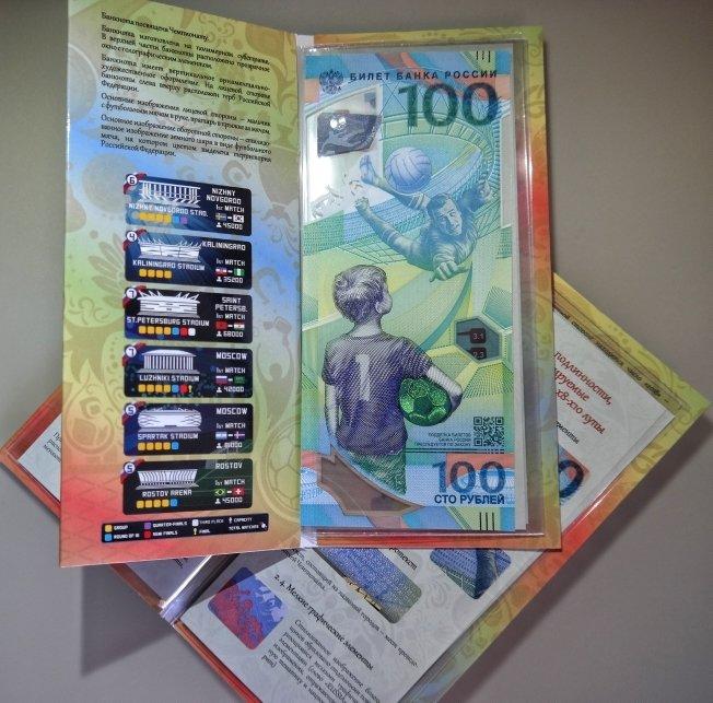 Открытка для памятной банкнот Банка России 100 рублей Футбол