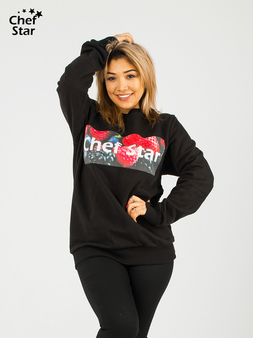 Свитшот Ягоды (Sweatshirt Berries), Black, Chef Star