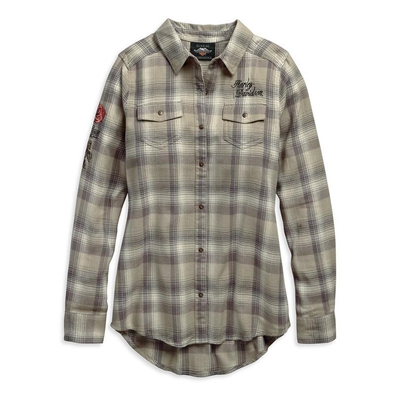 Rayon-Blend Plaid Shirt Women