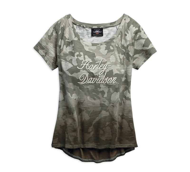 Camo Wide Neckline T-Shirt Women