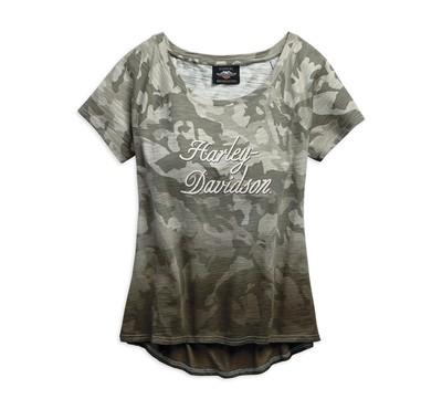 T-Shirt Women Short Sleeve Camo Wide Neckline
