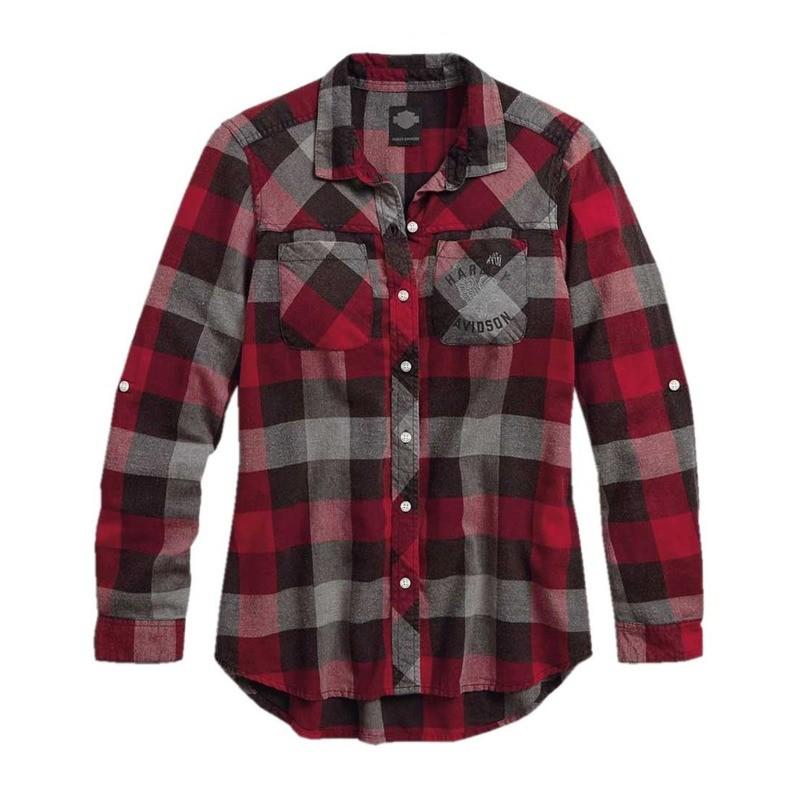 Shirt Women Long Sleeve Black Label Roll-Tab Sleeve Plaid