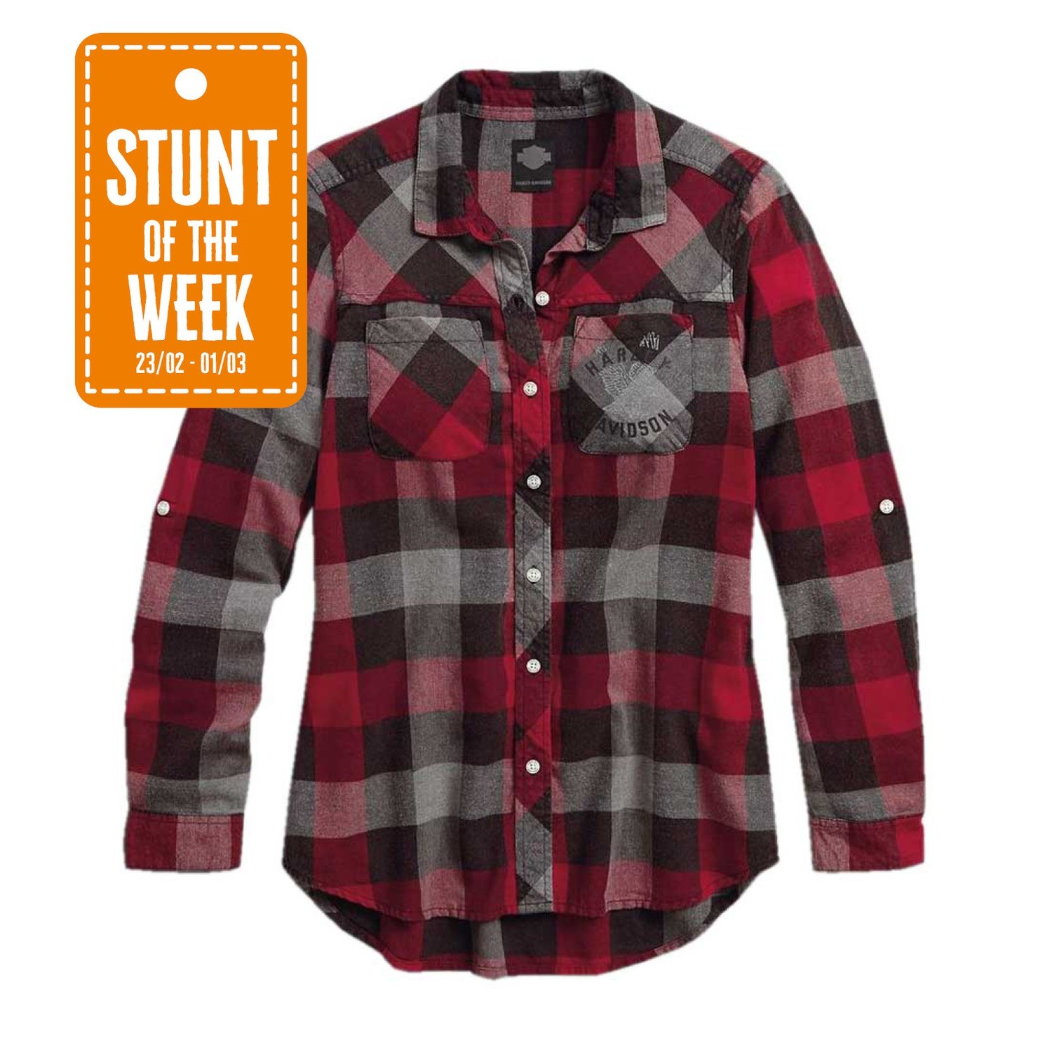 STUNT OF THE WEEK: Black Label Roll-Tab Sleeve Plaid Shirt Women