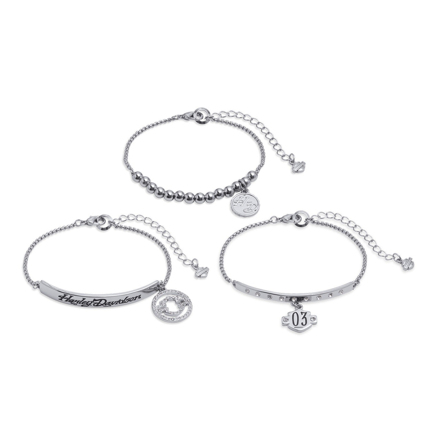 Bracelet Women Bar & Shield Set of Three