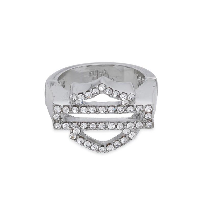 Ring Women Clear Rhinestone Logo Stretch