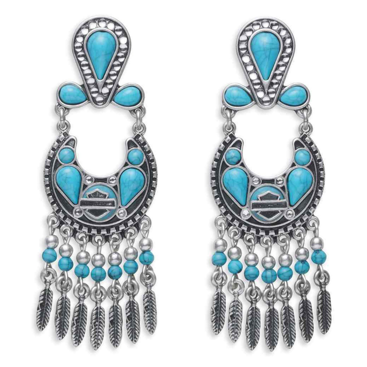 Earrings Women Turquoise Beaded & Stones Drop