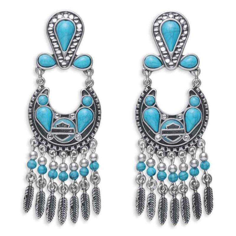 Turquoise Beaded & Stones Drop Earrings Women