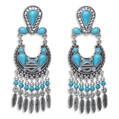 Earrings Women Turquoise Beaded & Stones Drop